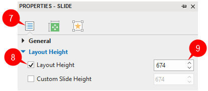 Change layout height in the Properties pane