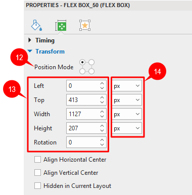 Change object position in responsive project