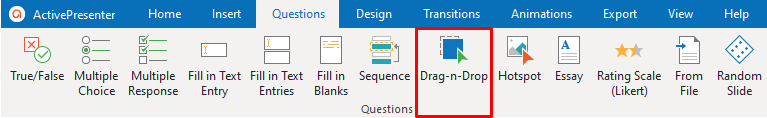 Drag-n-Drop Question in the Questions tab