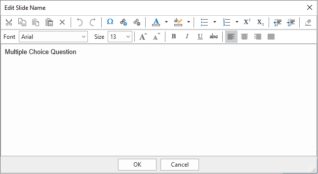 Edit Slide Name dialog