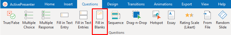 Fill in Blanks Question in the Questions Tab