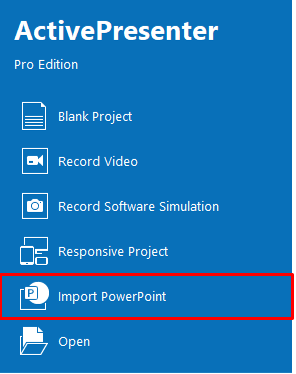 On the Start Page, click Import PowerPoint