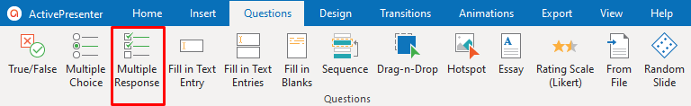 Multiple Response Question in the Questions tab