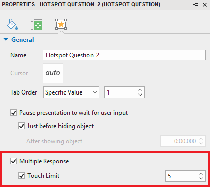 Multiple Response and Touch Limit check box
