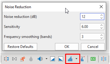 Click the Audio Noise Reduction button to adjust the noise reduction controls in the Noise Reduction dialog.