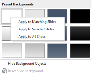 Right-click Preset Backgrounds