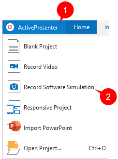 In the current opening project, click the ActivePresenter button and select Record Software Simulation.