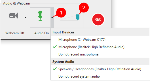 Record system audio and audio from microphone