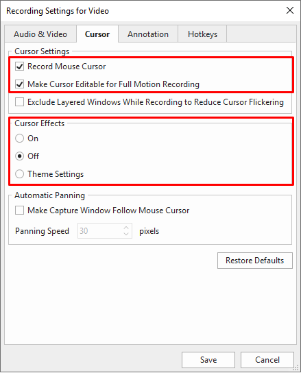Setting mouse cursor for recording.