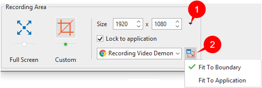 The Recording Area section offers two capture modes: Full Screen and Custom.