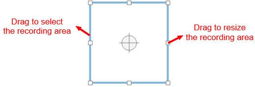 A blue rectangle and a cross-hair (in the middle of it) which indicate the recording area.