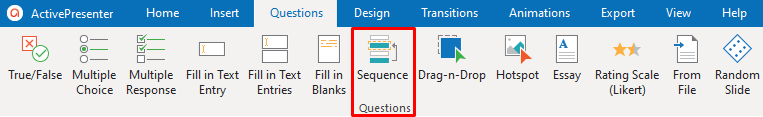 Sequence Question in the Questions tab in ActivePresenter 8