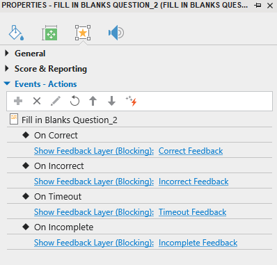 Set Events - Actions for Fill in Blanks Question