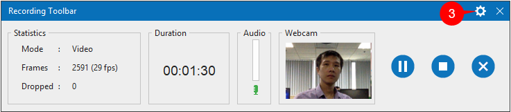 Recording Toolbar allows you to stop recording and view the recording status.