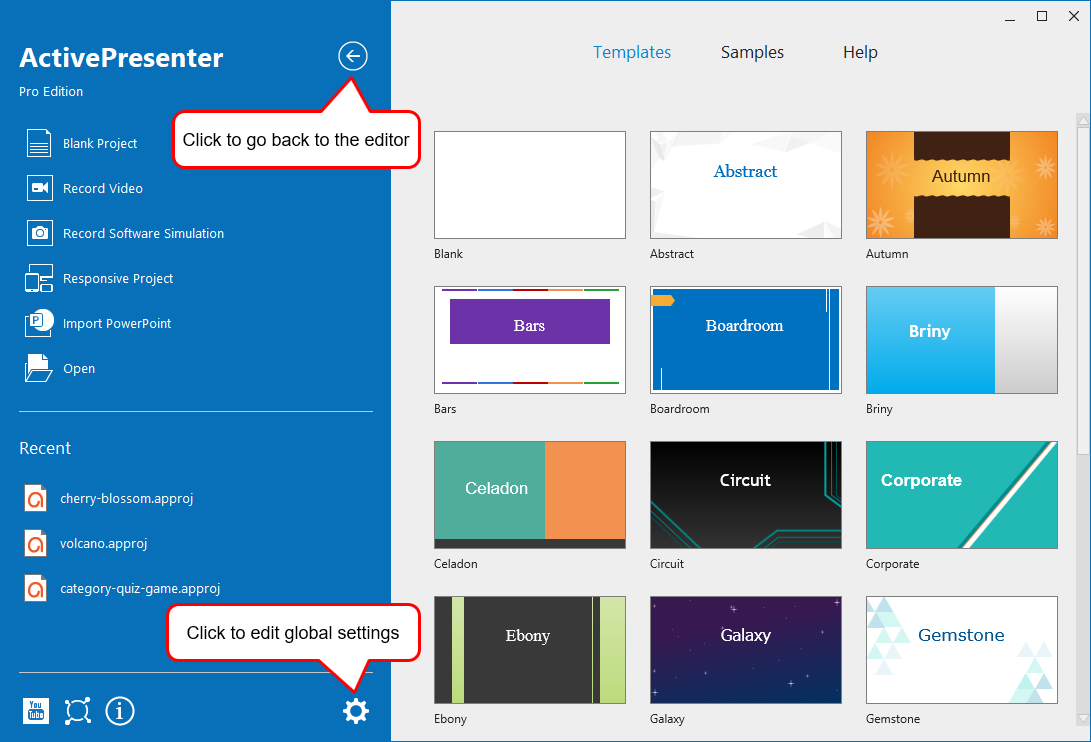 You can create a new project using templates or open the documentation from the Start Page.