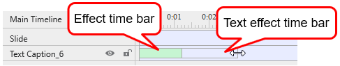 Change the delay time by dragging the text effect time bar (the transparent bar) in the Timeline.