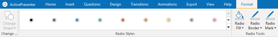 The Format Tab Allows to Change the Style of Radio Buttons.