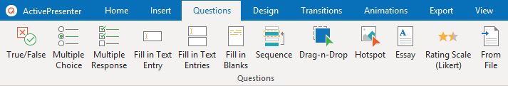 The Questions tab to Create Interactive Quizzes in ActivePresenter 8