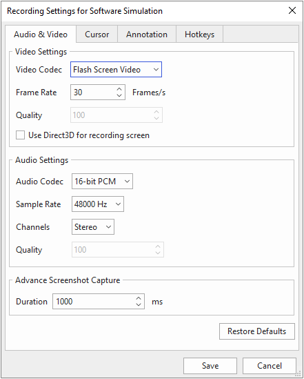 Audio & video tab in recording settings dialog