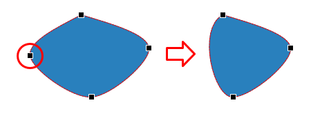 The selected anchor point will disappear, making the shape change accordingly.