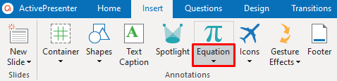 Access the Insert tab > Click the drop-down arrow on the Equation button.