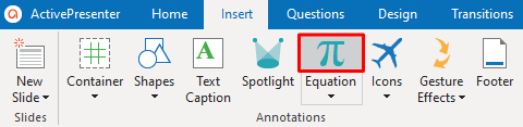 Click the Equation icon in the Home tab or the Insert tab.