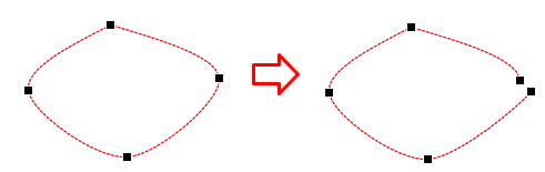 Open the shape right at the selected point.