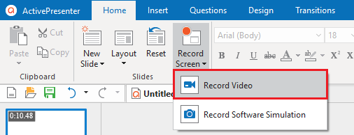 Record Video by recording screen
