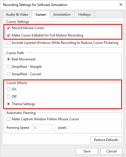 Enable Theme Settings for recording custom cursor effects.