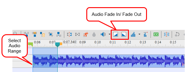 Select Audio Range and click Audio Fade In/ Fade Out
