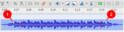 The audio time bar after using Audio fade