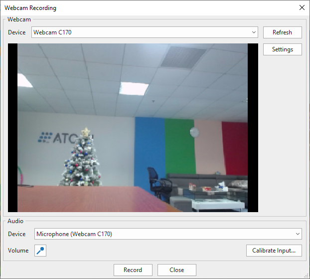 Webcam Recording dialog