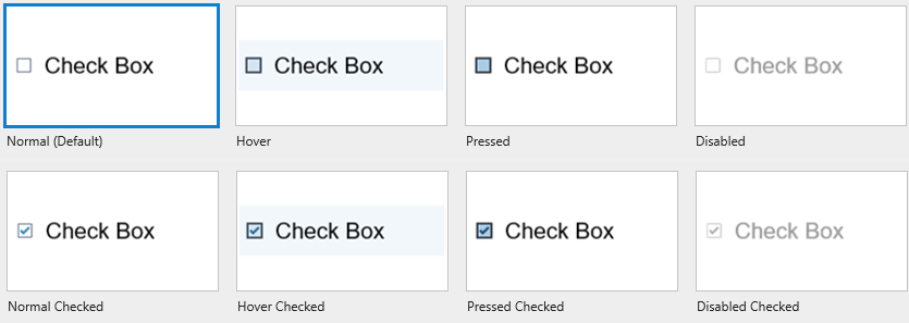 8 Built-in States of Check Box/ Radio Button
