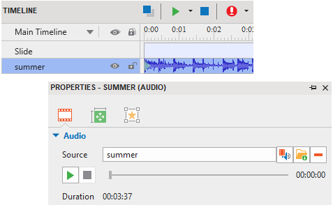 With the audio object, you can import an audio file from your file system or record a new track.