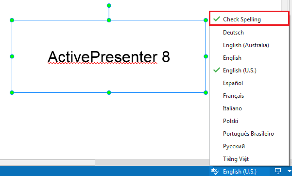 ActivePresenter offers the automatic spell checking feature