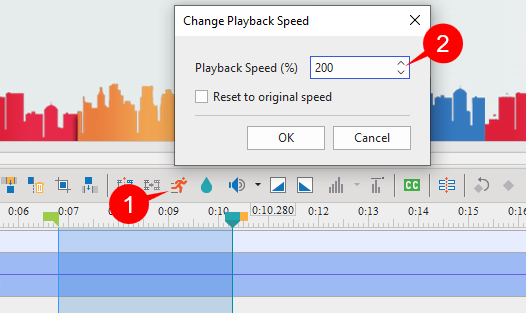Click Change Playback Speed button