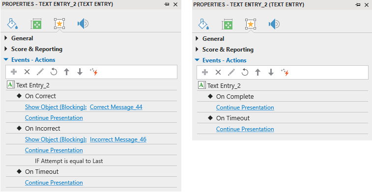 Defaults Events - Actions of Text Entry