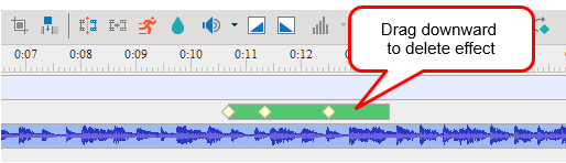 Drag the effect time bar downward until it turns gray and release the mouse button.