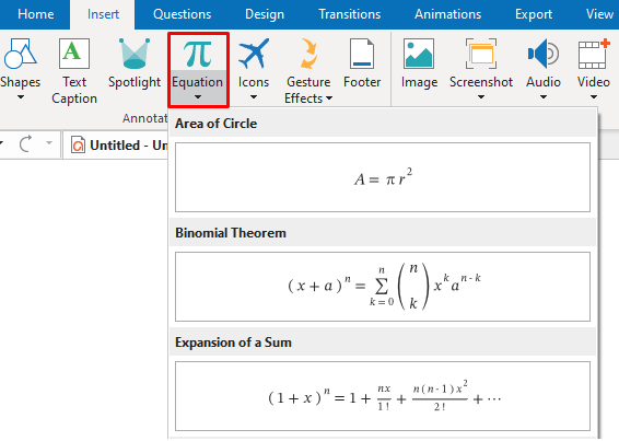 ActivePresenter offers you a great number of built-in equations and formulas to help create any math equation easily.