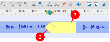 A yellow diamond and yellow bar get superimposed on the time bar of the audio/video object.