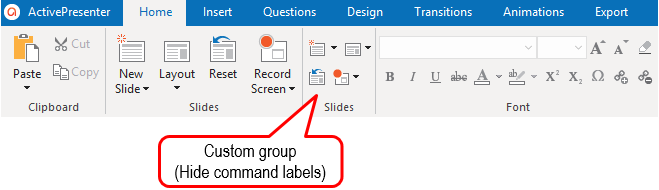 For custom groups, select the Hide Command Labels check box (5) to hide the labels while showing the icons in smaller size.