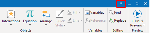 Click the Hide/Show Toolbar button (double arrow) at the top-right corner of the application window.