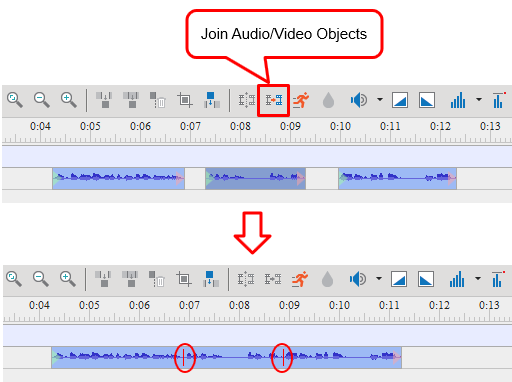 Join Audio/Video Objects button to join multiple videos