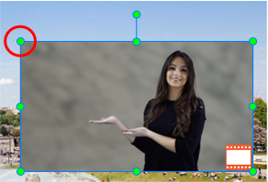 Click and drag the resizing handles (green dots) to resize the PIP video.
