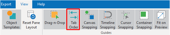 Show or hide Tab Order on the canvas