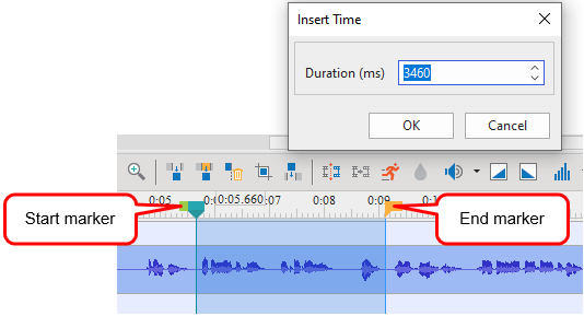 Specify the freezing time by dragging the Start marker and End marker of the Playhead along the timeline