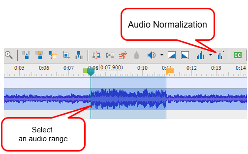 Select the entire track or specify the audio range that you want to normalize