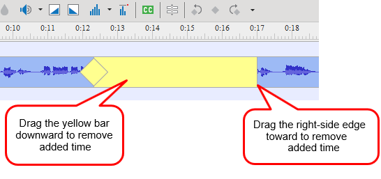 Remove added time from the host track