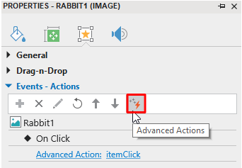 Add Advanced Actions from the Properties Pane