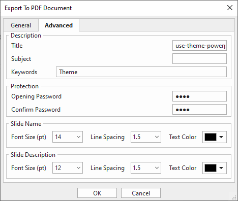 Advanced tab in Export to PDF Document